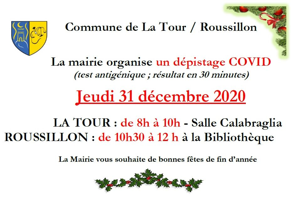 DEPISTAGE COVID 31/12/2020